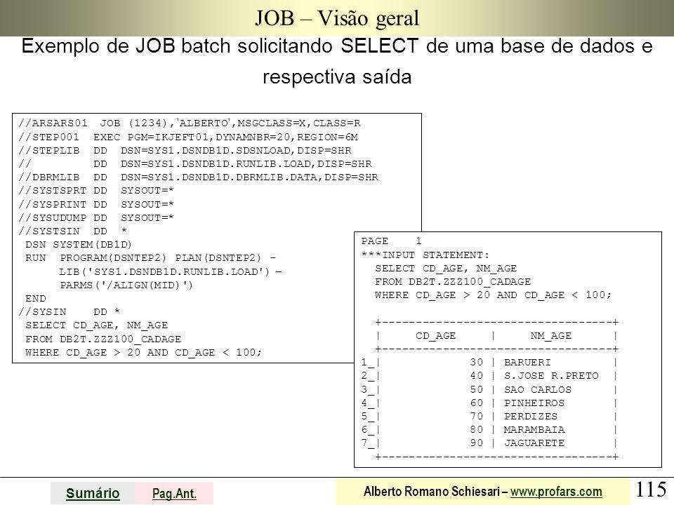 JOB – Visão geral Exemplo de JOB batch solicitando SELECT de uma base de dados e respectiva saída.