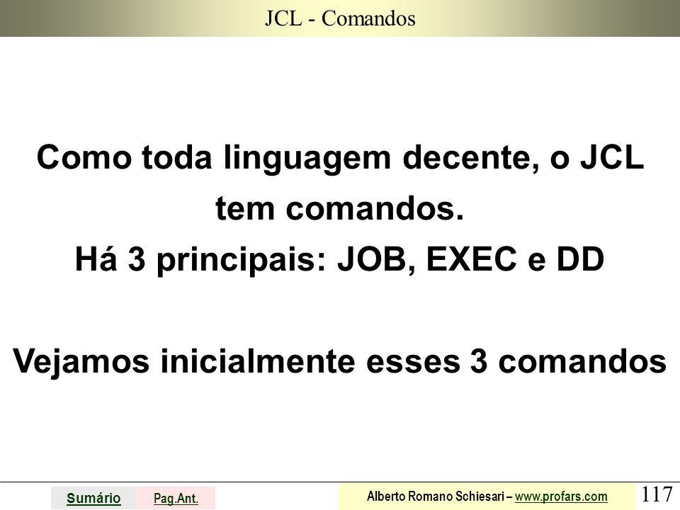 JCL - Comandos Como toda linguagem decente, o JCL tem comandos.