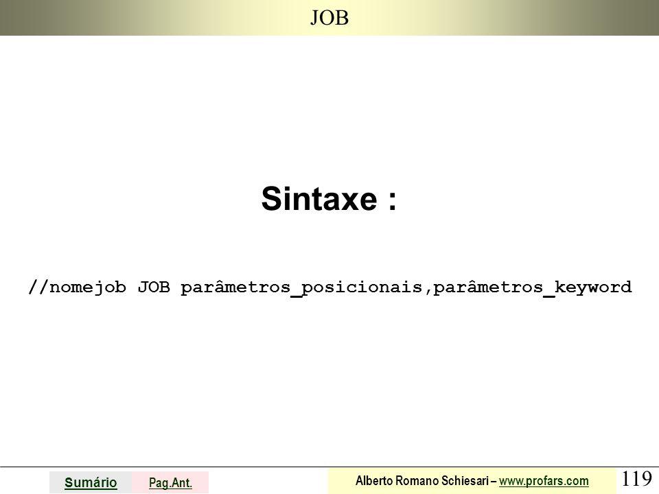 Sintaxe : //nomejob JOB parâmetros_posicionais,parâmetros_keyword