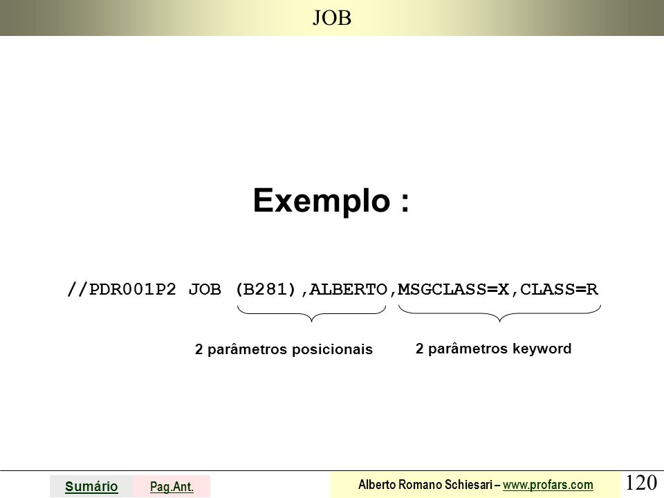 Exemplo : //PDR001P2 JOB (B281),ALBERTO,MSGCLASS=X,CLASS=R