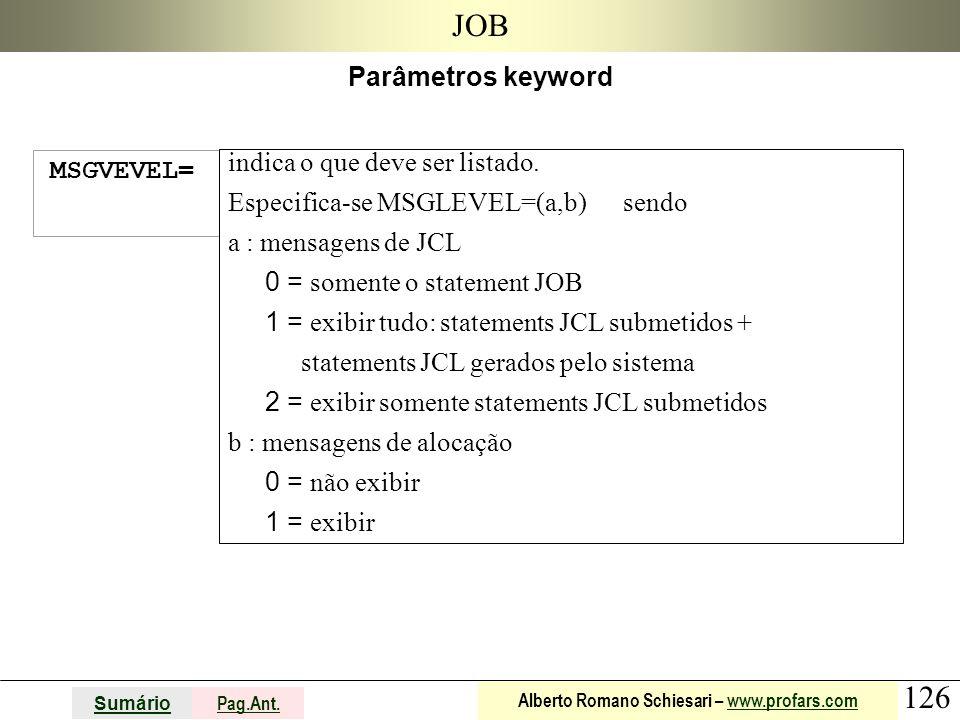 JOB Parâmetros keyword MSGVEVEL= indica o que deve ser listado.