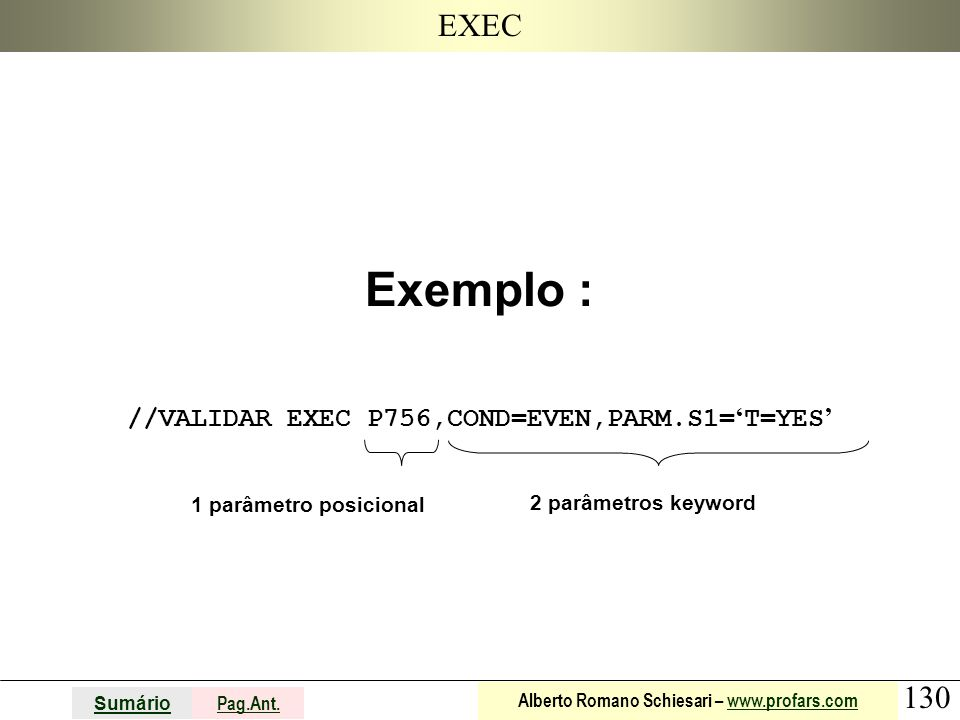 Exemplo : //VALIDAR EXEC P756,COND=EVEN,PARM.S1='T=YES'