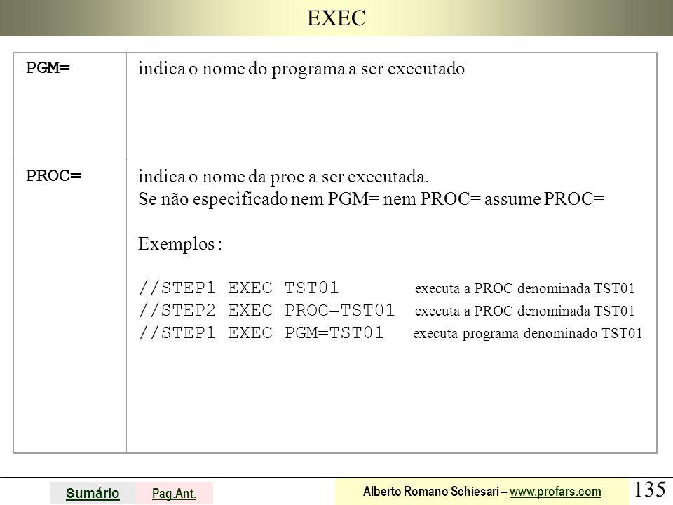 EXEC PGM= indica o nome do programa a ser executado PROC=