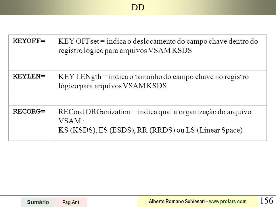 DD KEYOFF= KEY OFFset = indica o deslocamento do campo chave dentro do registro lógico para arquivos VSAM KSDS.