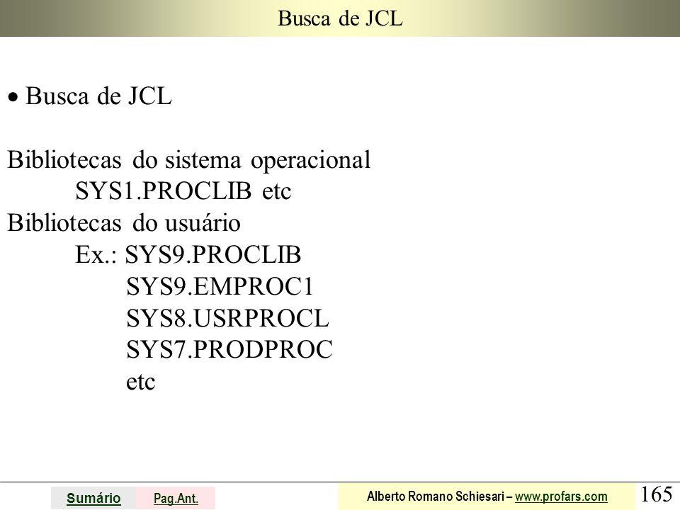 Bibliotecas do sistema operacional SYS1.PROCLIB etc