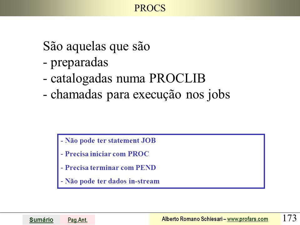 catalogadas numa PROCLIB chamadas para execução nos jobs