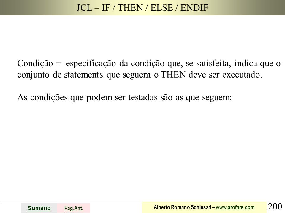 JCL – IF / THEN / ELSE / ENDIF
