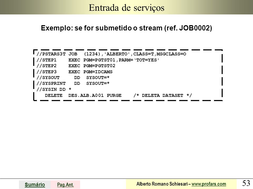 Exemplo: se for submetido o stream (ref. JOB0002)