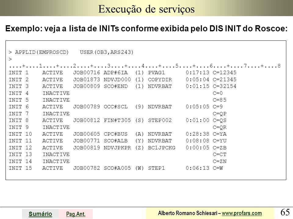 Execução de serviços Exemplo: veja a lista de INITs conforme exibida pelo DIS INIT do Roscoe: > APPLID(EMPROSCD) USER(OB3,ARS243)