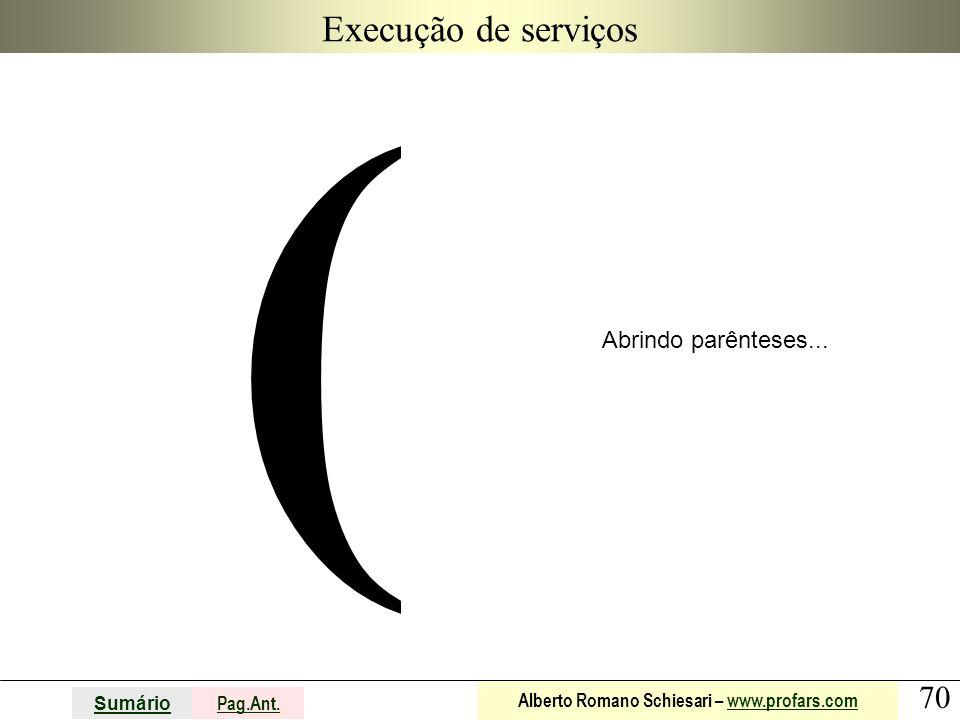 Execução de serviços ( Abrindo parênteses...