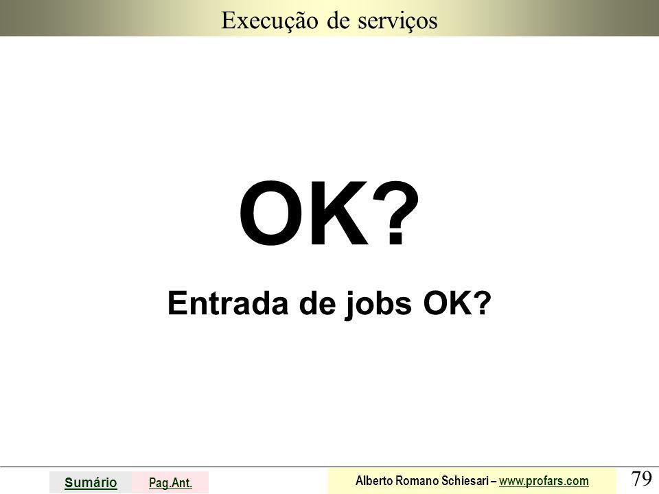 Execução de serviços OK Entrada de jobs OK