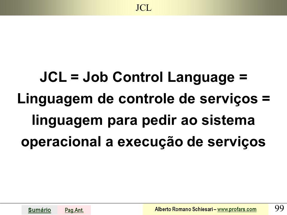 JCL JCL = Job Control Language = Linguagem de controle de serviços = linguagem para pedir ao sistema operacional a execução de serviços.