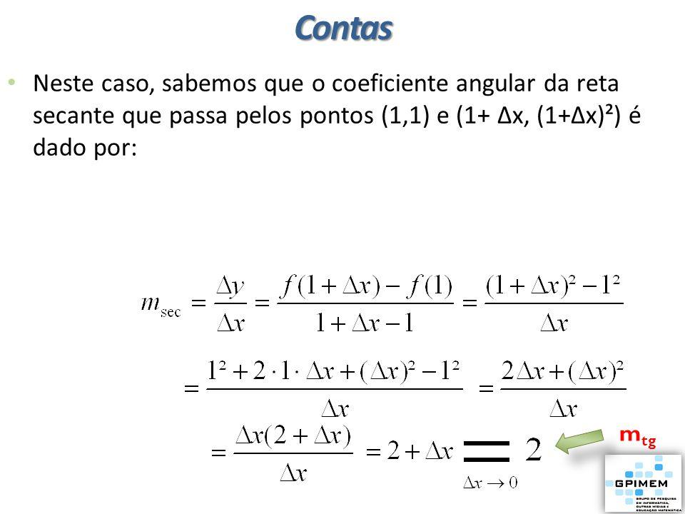 Contas Neste caso, sabemos que o coeficiente angular da reta secante que passa pelos pontos (1,1) e (1+ ∆x, (1+∆x)²) é dado por: