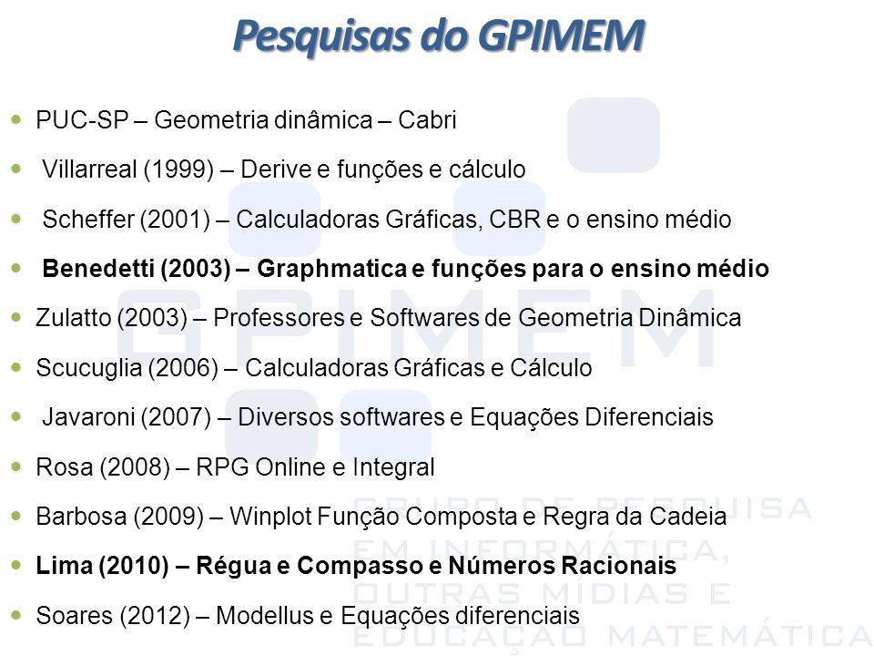 Pesquisas do GPIMEM PUC-SP – Geometria dinâmica – Cabri