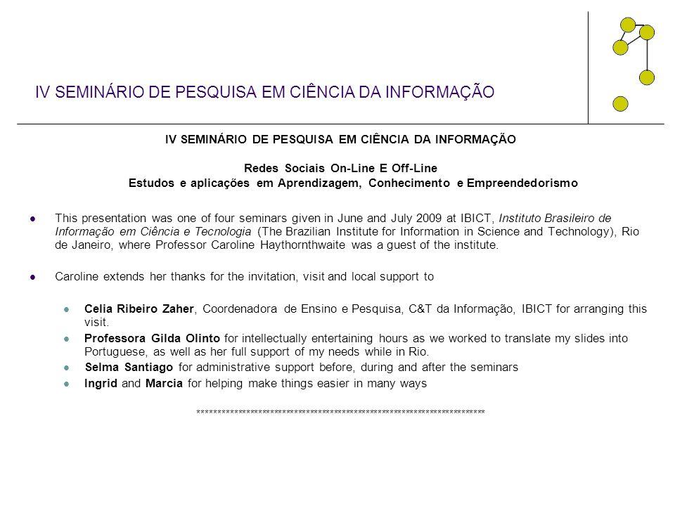 IV SEMINÁRIO DE PESQUISA EM CIÊNCIA DA INFORMAÇÃO