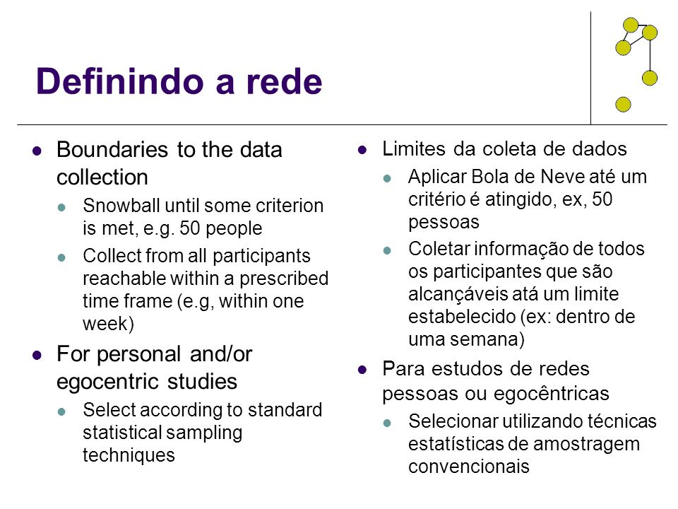 Definindo a rede Boundaries to the data collection