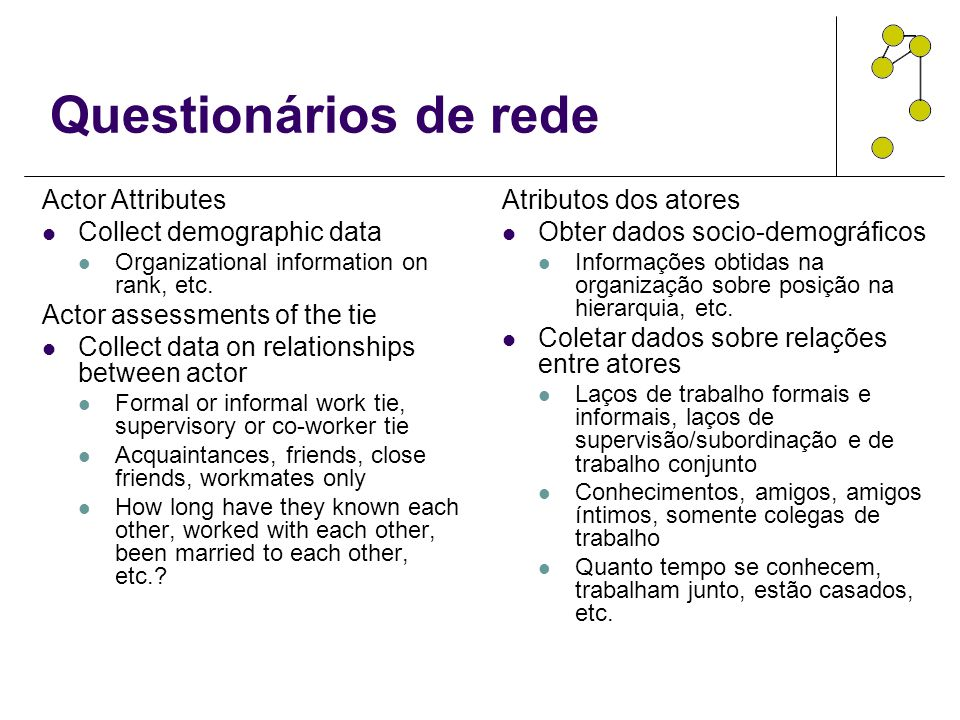 Questionários de rede Actor Attributes Collect demographic data