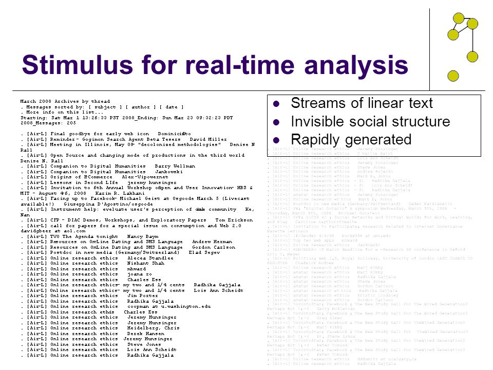 Stimulus for real-time analysis