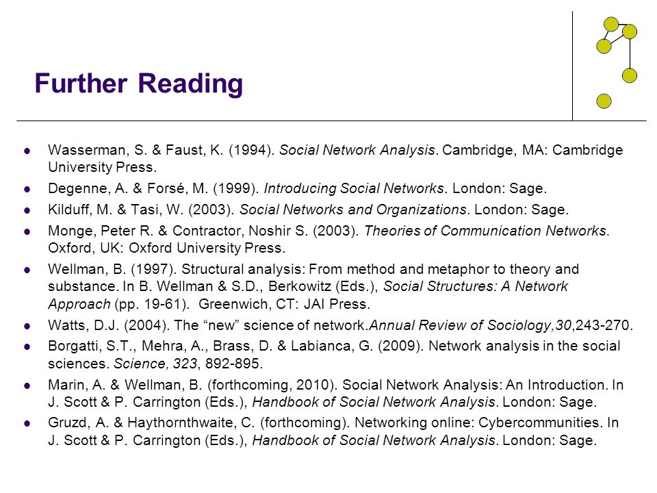 Further Reading Wasserman, S. & Faust, K. (1994). Social Network Analysis. Cambridge, MA: Cambridge University Press.