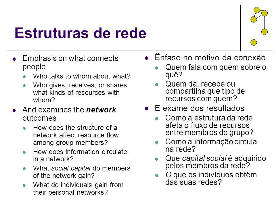 Estruturas de rede Ênfase no motivo da conexão E exame dos resultados