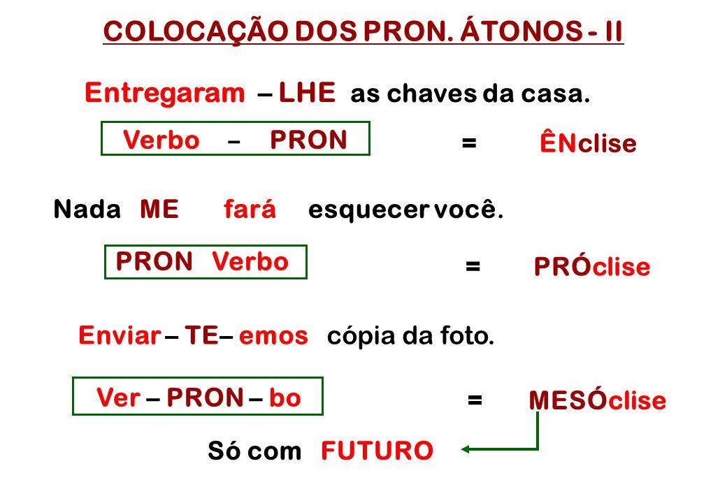 COLOCAÇÃO DOS PRON. ÁTONOS - II