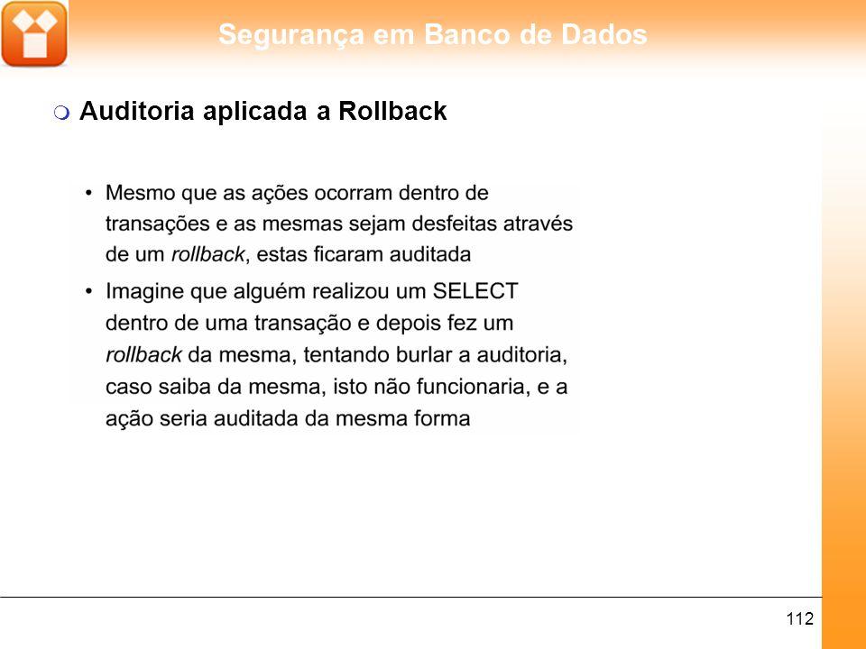 Auditoria aplicada a Rollback
