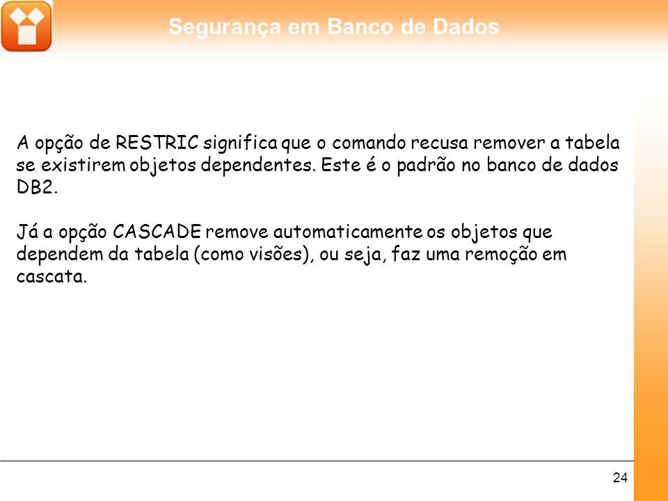 A opção de RESTRIC significa que o comando recusa remover a tabela