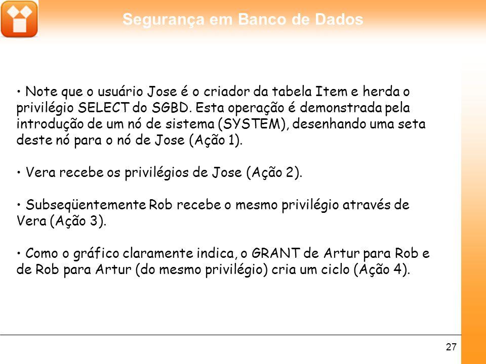 • Note que o usuário Jose é o criador da tabela Item e herda o