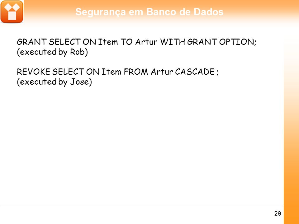 GRANT SELECT ON Item TO Artur WITH GRANT OPTION;