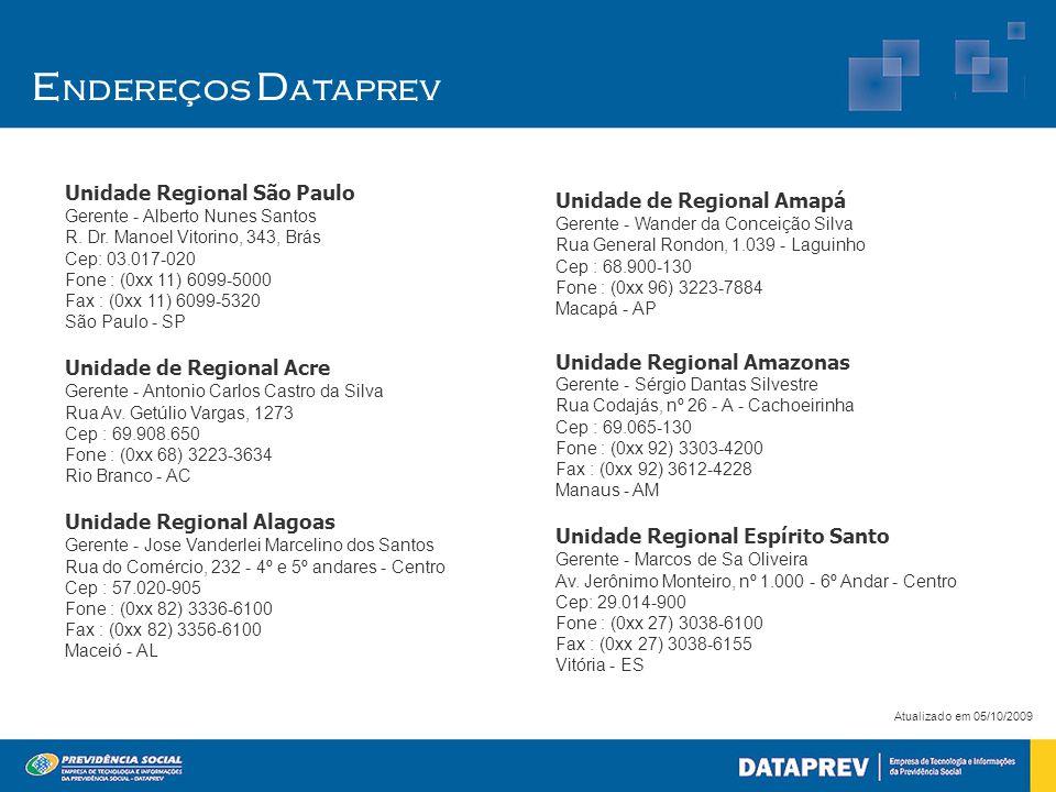 Endereços Dataprev Unidade Regional São Paulo