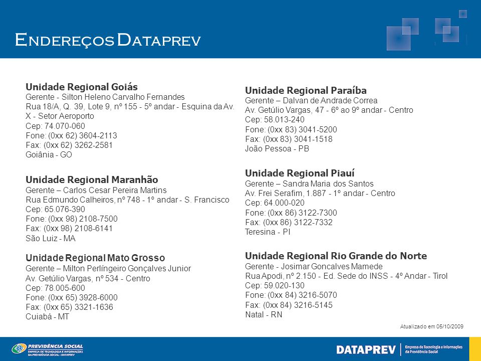 Endereços Dataprev Unidade Regional Goiás