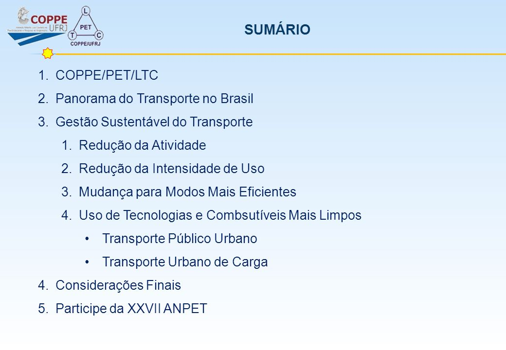 SUMÁRIO COPPE/PET/LTC Panorama do Transporte no Brasil