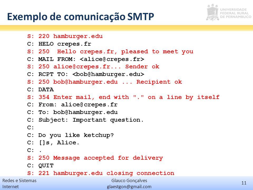 Exemplo de comunicação SMTP