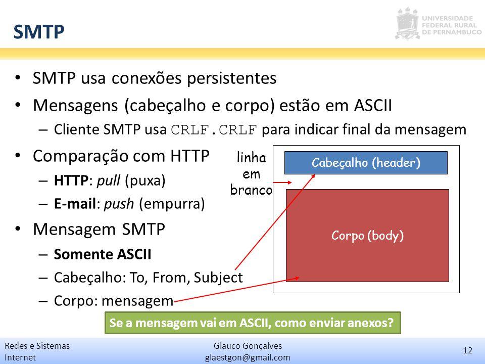 SMTP SMTP usa conexões persistentes