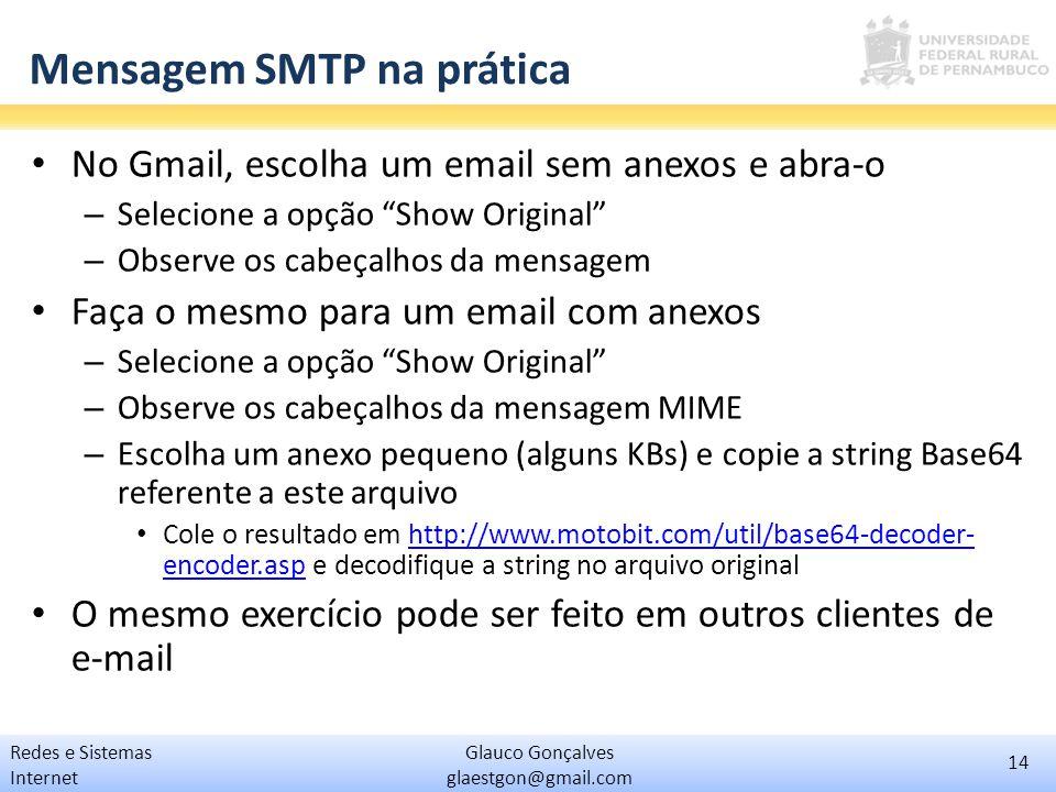 Mensagem SMTP na prática