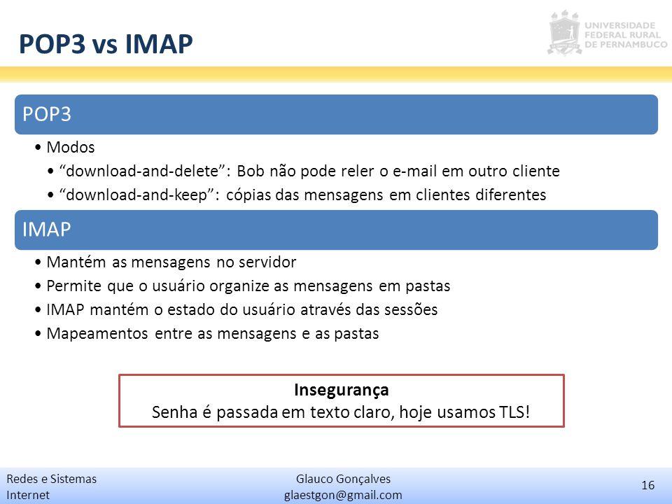 Insegurança Senha é passada em texto claro, hoje usamos TLS!