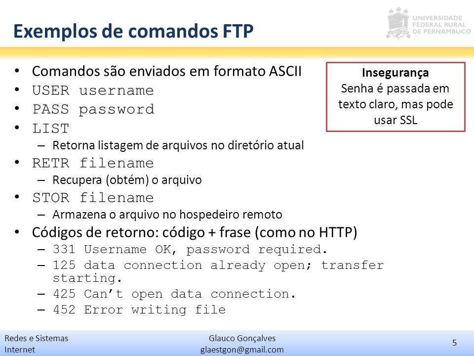 Exemplos de comandos FTP
