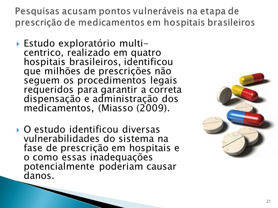 Pesquisas acusam pontos vulneráveis na etapa de prescrição de medicamentos em hospitais brasileiros
