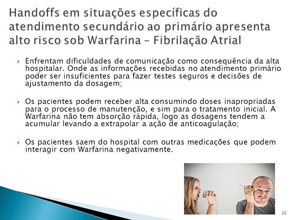 Handoffs em situações específicas do atendimento secundário ao primário apresenta alto risco sob Warfarina – Fibrilação Atrial