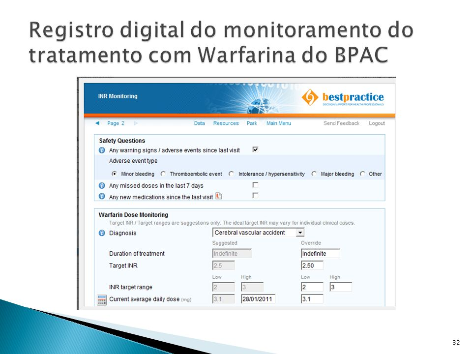 Registro digital do monitoramento do tratamento com Warfarina do BPAC