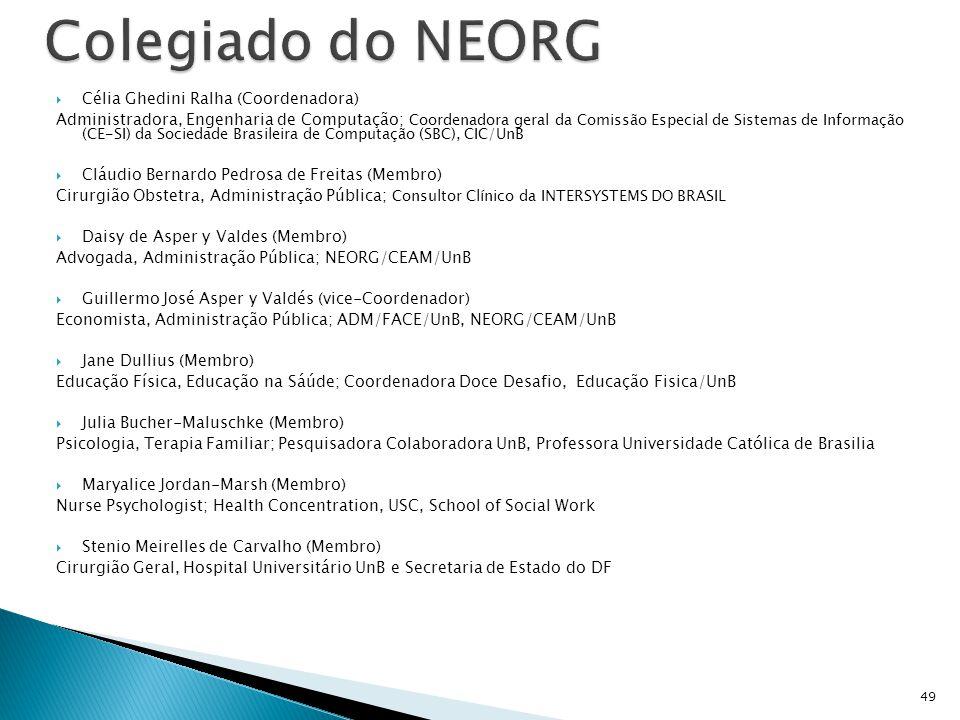 Colegiado do NEORG Célia Ghedini Ralha (Coordenadora)