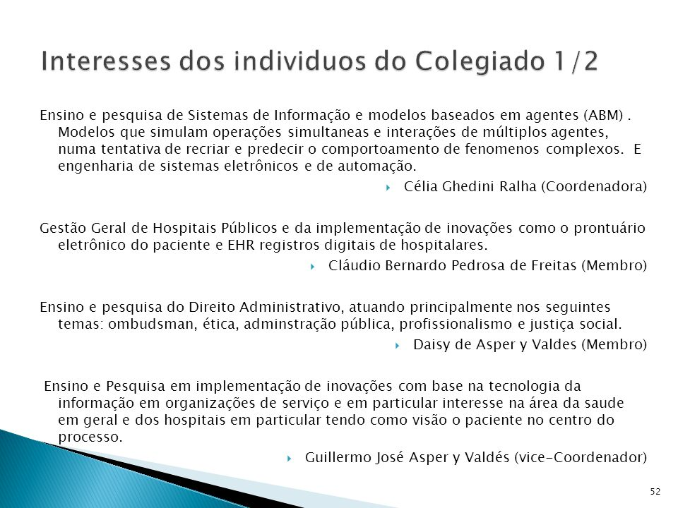 Interesses dos individuos do Colegiado 1/2