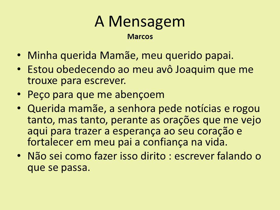 A Mensagem Marcos Minha querida Mamãe, meu querido papai.