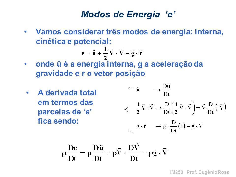 Modos de Energia 'e' Vamos considerar três modos de energia: interna, cinética e potencial: