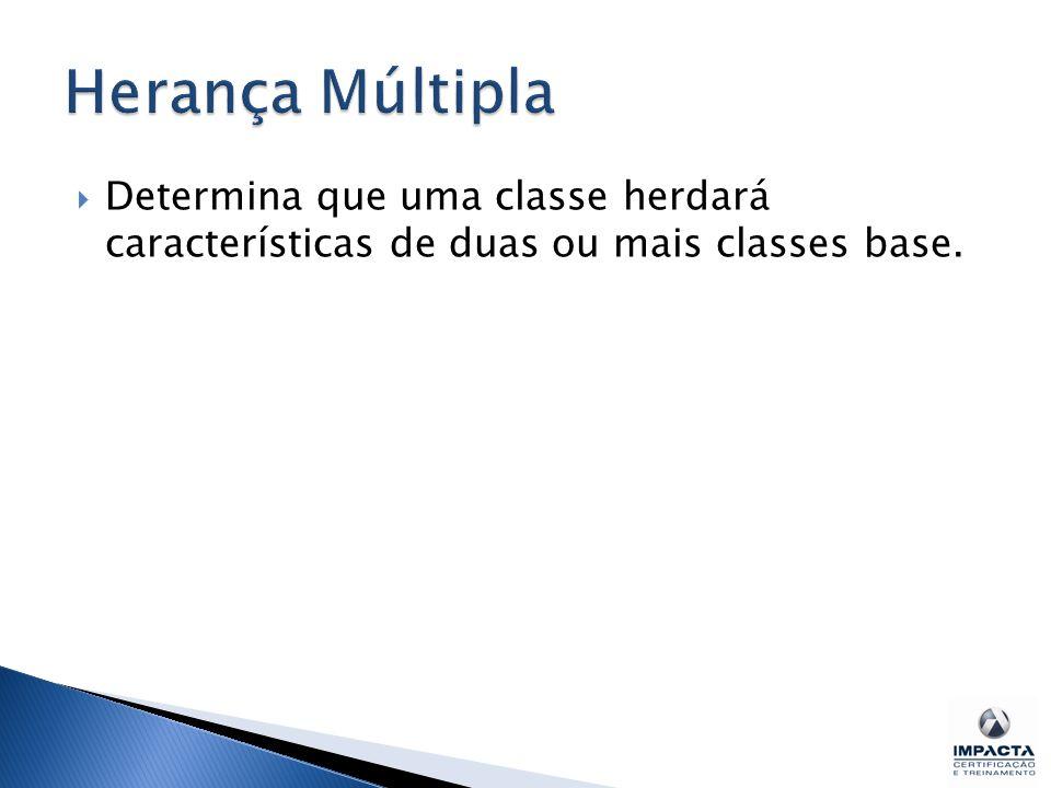 Herança Múltipla Determina que uma classe herdará características de duas ou mais classes base.