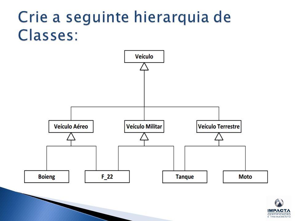 Crie a seguinte hierarquia de Classes: