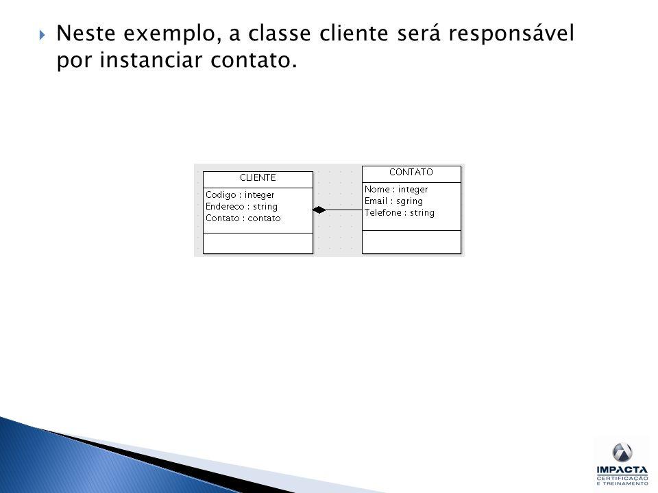 Neste exemplo, a classe cliente será responsável por instanciar contato.