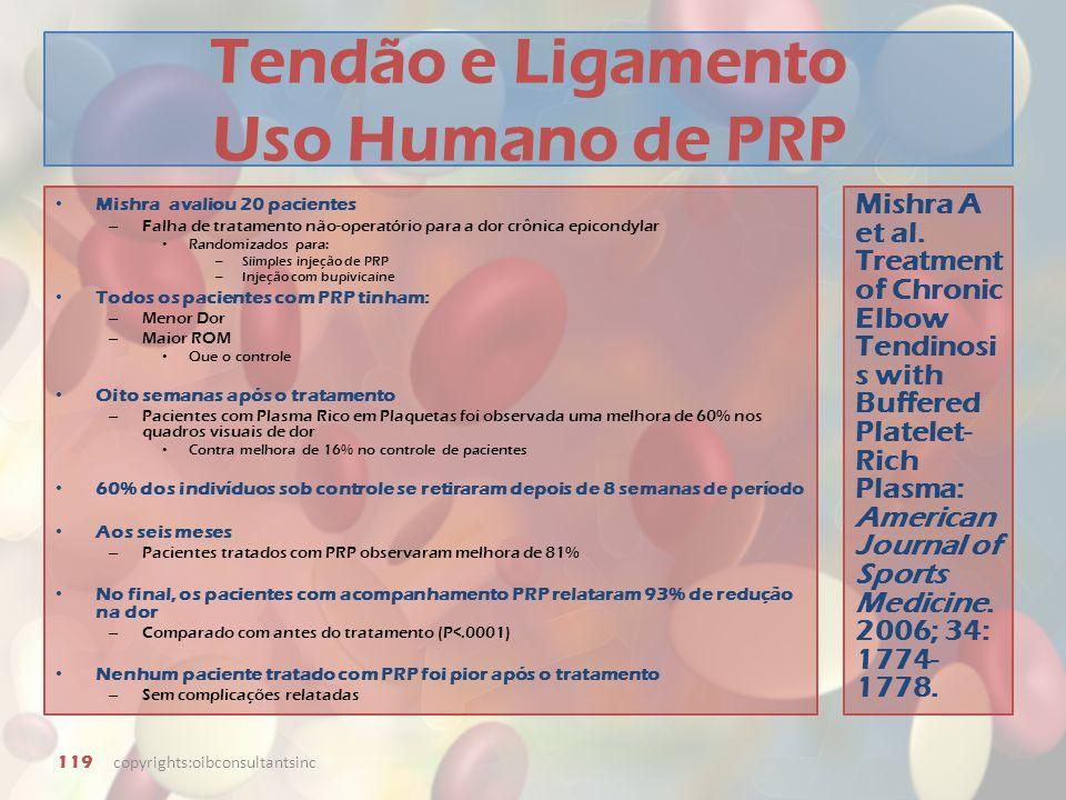 Tendão e Ligamento Uso Humano de PRP