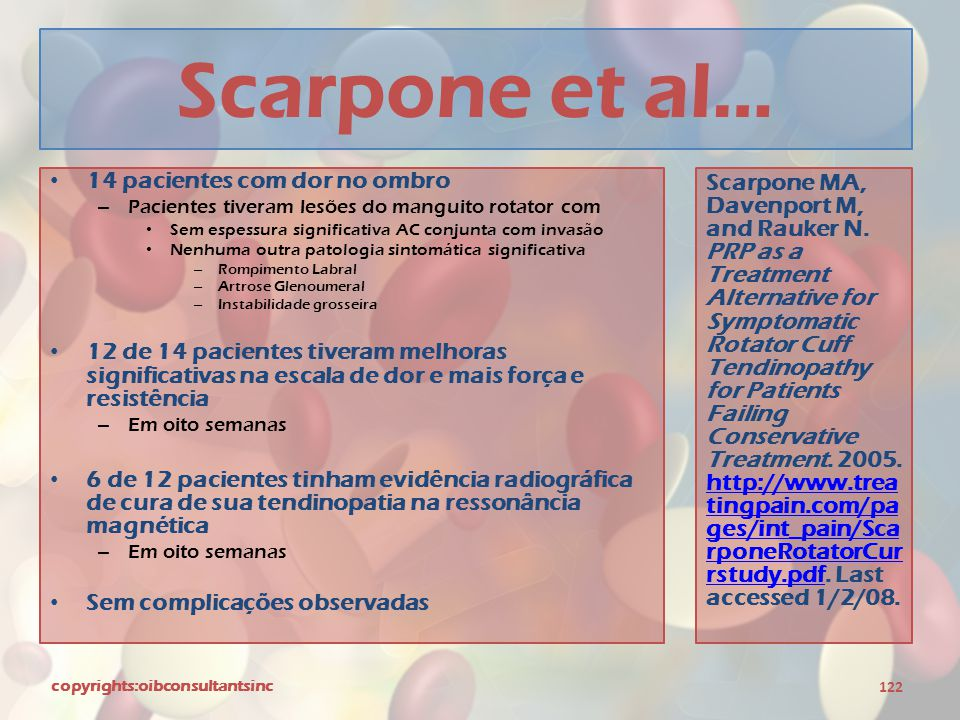 Scarpone et al… 14 pacientes com dor no ombro