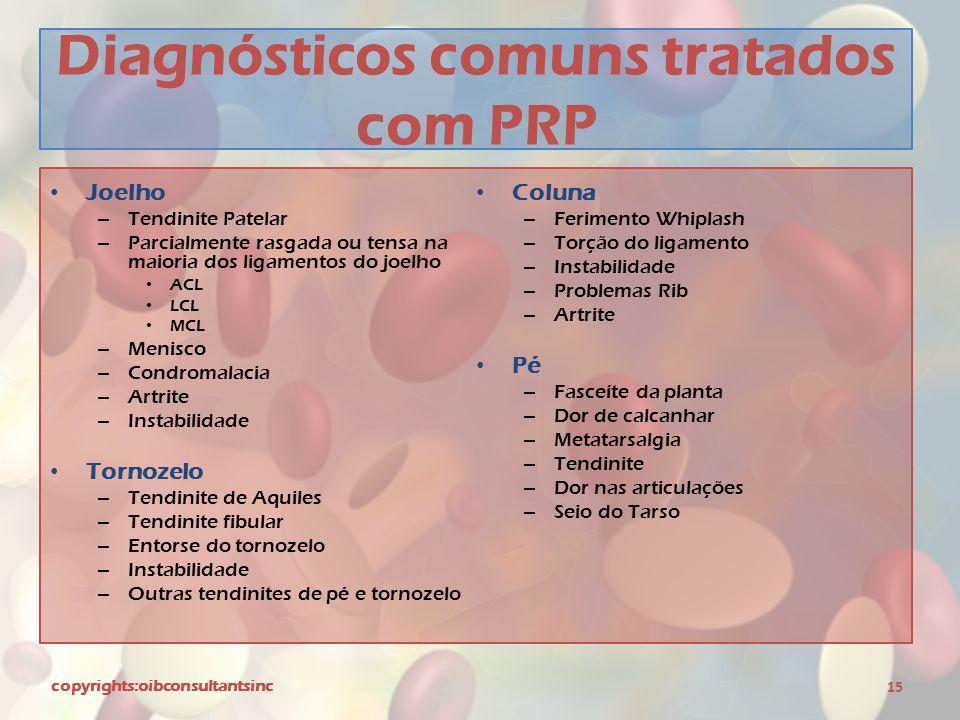 Diagnósticos comuns tratados com PRP